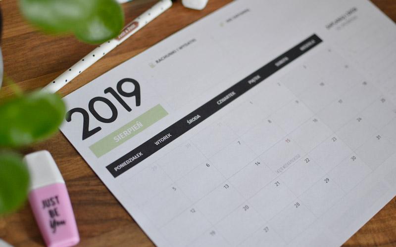 Darmowy planner na sierpień 2019