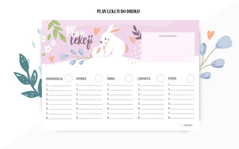Plan lekcji do druku - wersja różowa