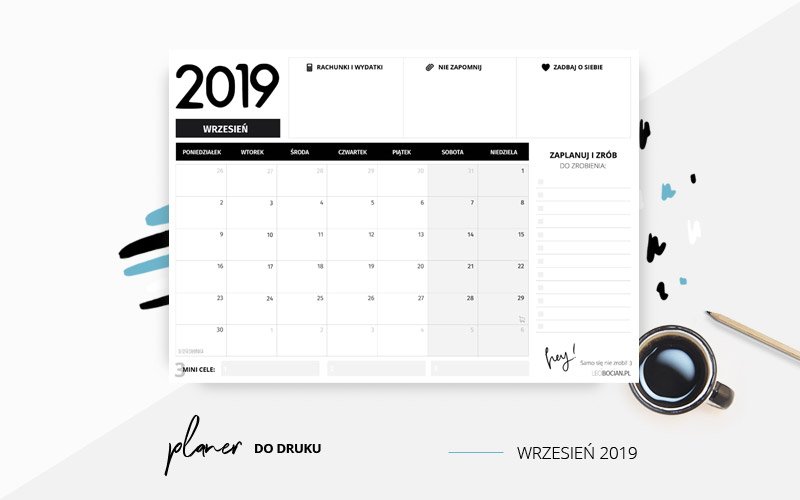 Planer wrzesień 2019 w kolorze czarno-białym