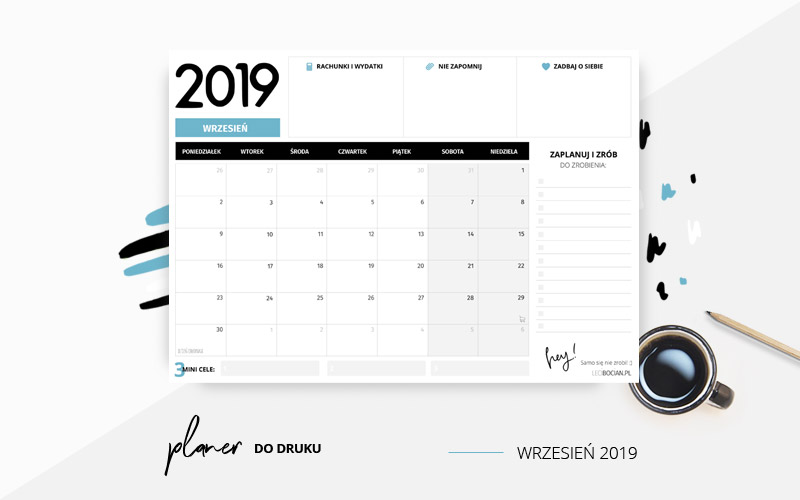 Planer wrzesień 2019 w kolorze niebieskim