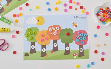 Jesienne drzewa - nauka cyfr poprzez zabawę