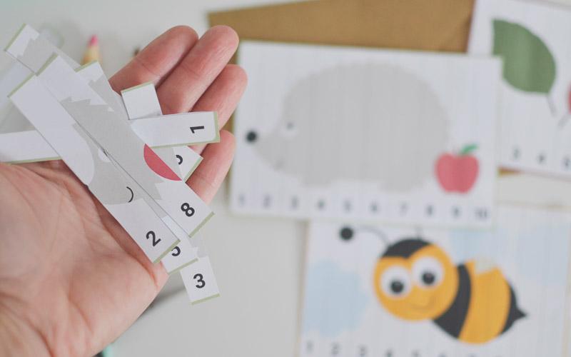 Karty do nauki cyfr - matematyczne puzzle