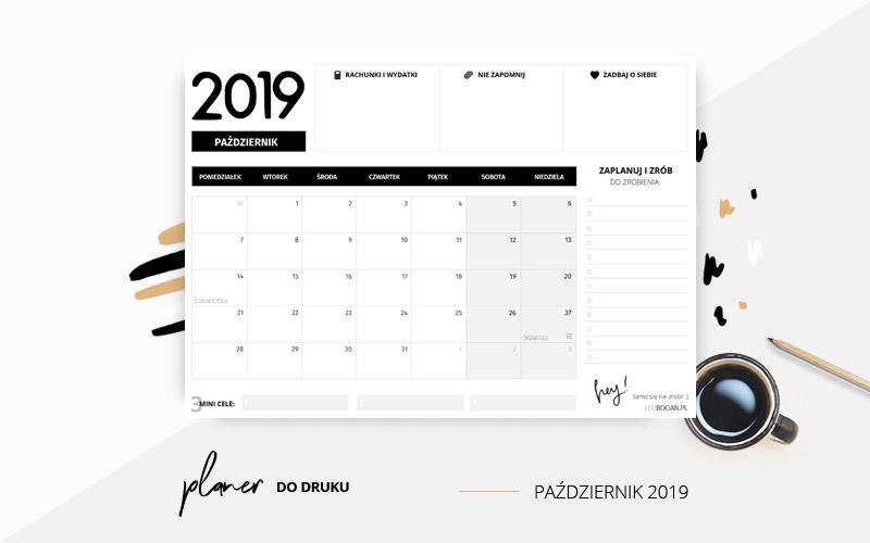 Planer październik 2019 w kolorze czarnym