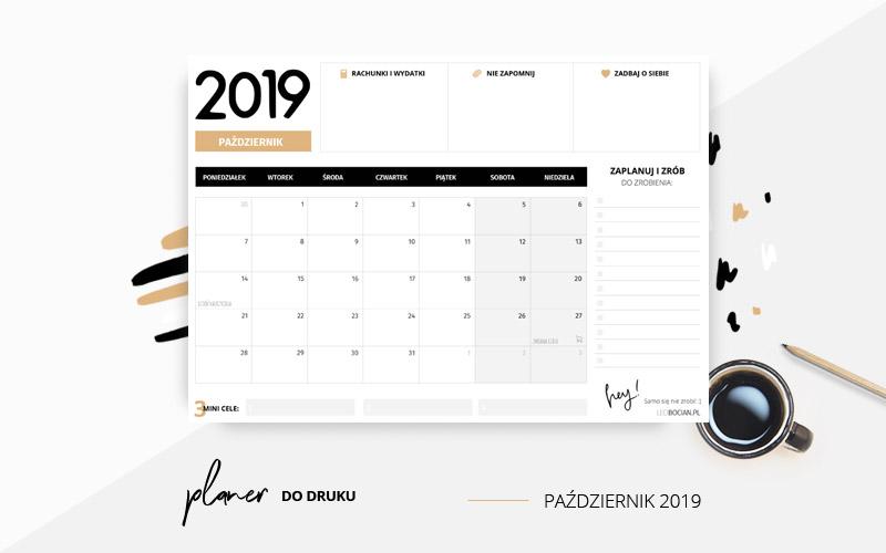 Planer październik  2019 w kolorze pomarańczowym