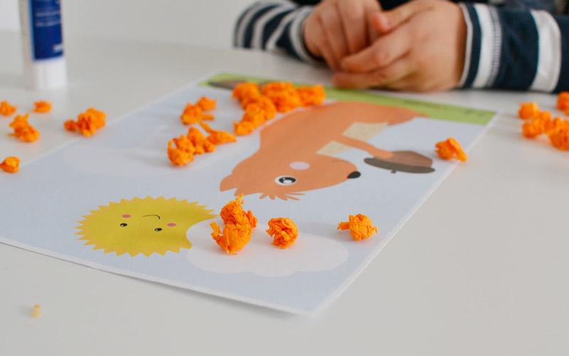 Jesienna wiewiórka - wyklejanka do druku