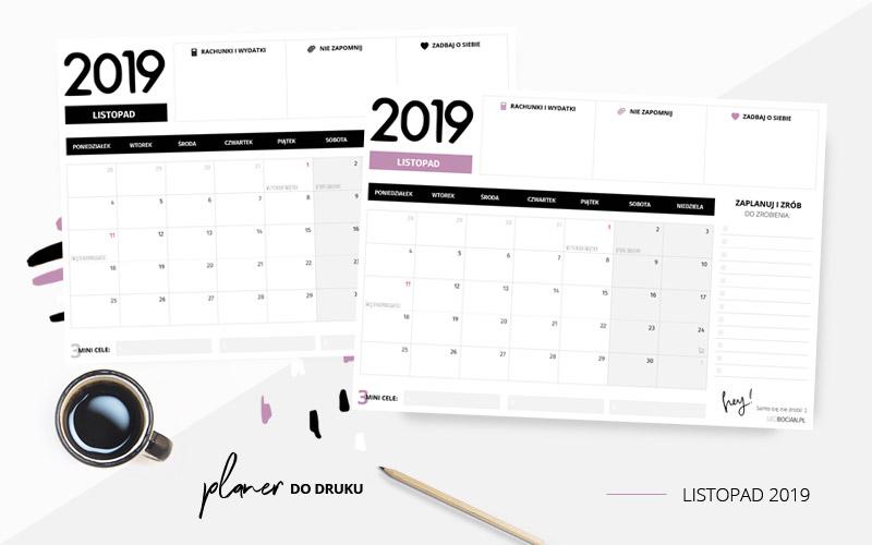 Planer listopad 2019 – do pobrania i wydrukowania