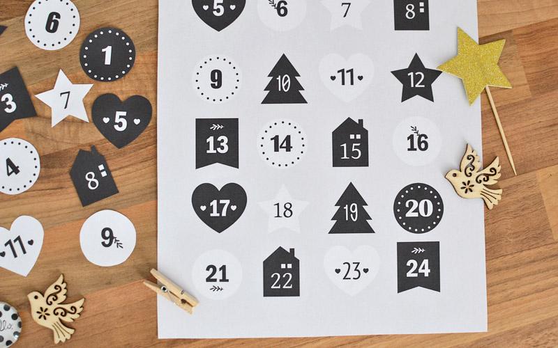 Numerki do kalendarza adwentowego do druku