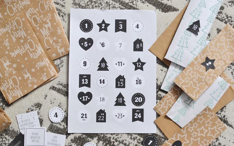 Numerki do kalendarza adwentowego i torebki