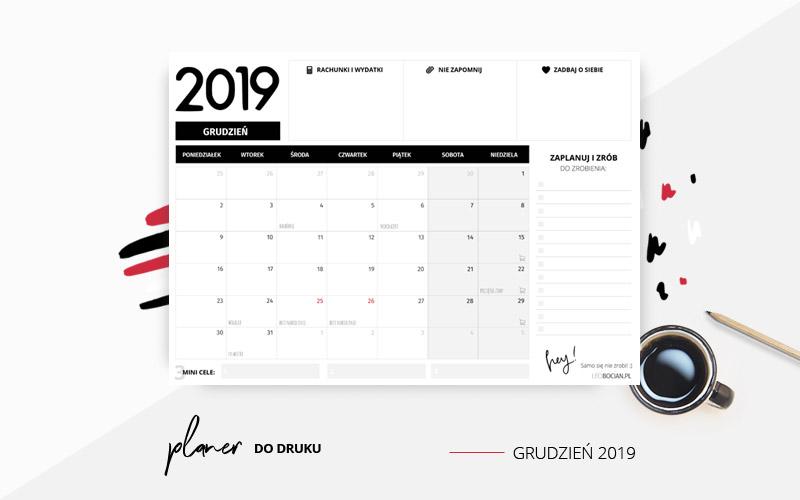 Planer grudzień 2019 w kolorze czarnym