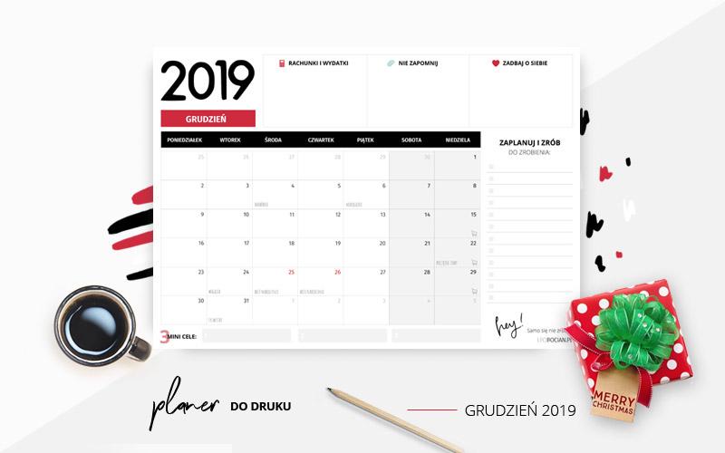 Planer grudzień 2019 w kolorze czerwonym