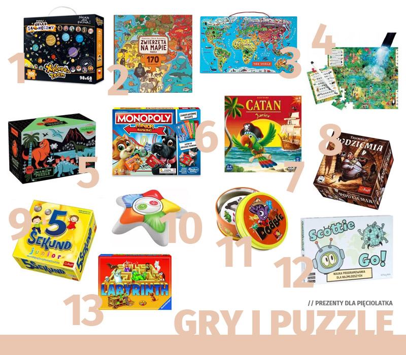 Prezenty dla pięciolatka - gry i puzzle
