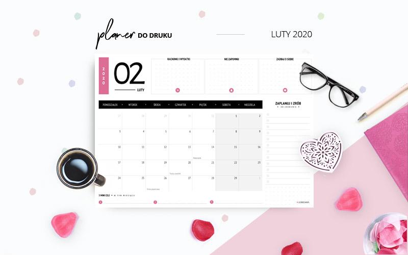 Planer luty 2020 w kolorze różowym