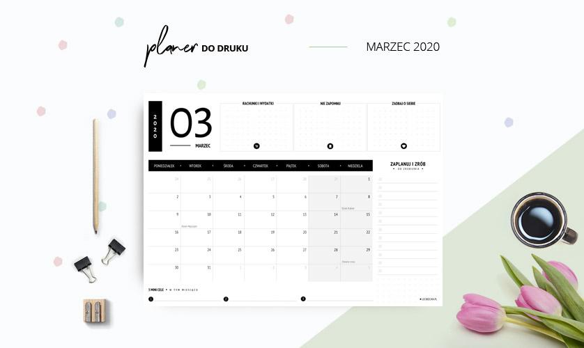 Planer marzec 2020 w kolorze czarnym