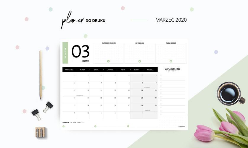 Planer marzec 2020 w kolorze zielonym