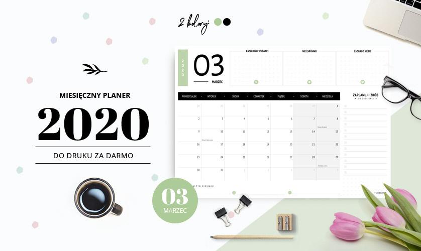 Planer marzec 2020 - do druku za darmo