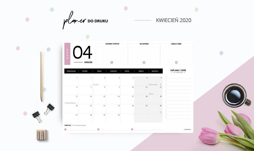 Planer kwiecień 2020 w kolorze różowym