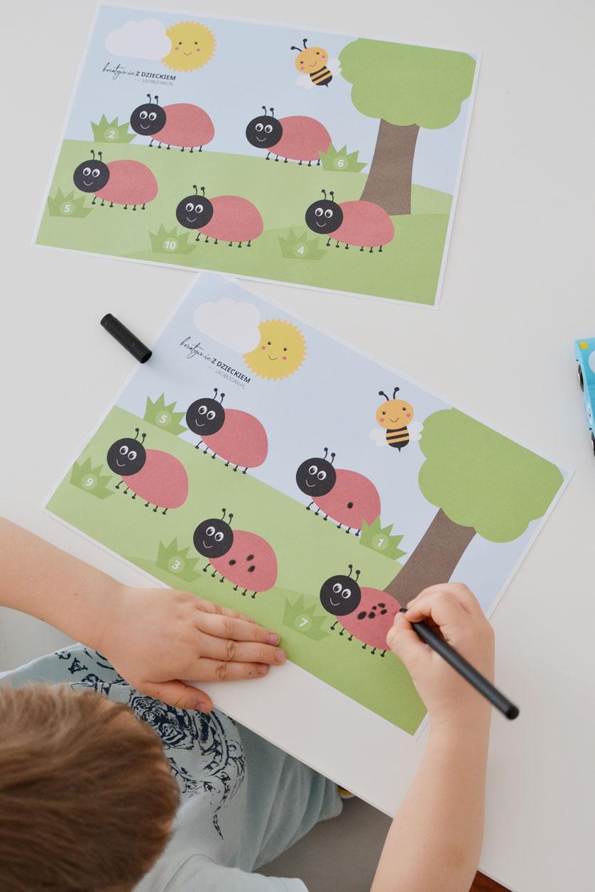Nauka liczenia dla dzieci - Kropki biedronki
