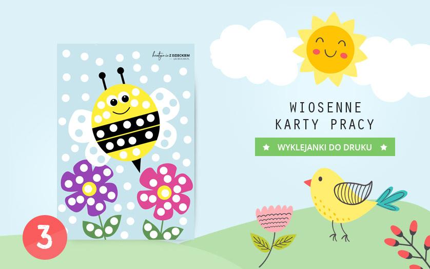 Wiosenne karty pracy - Wyklejanka pszczoła