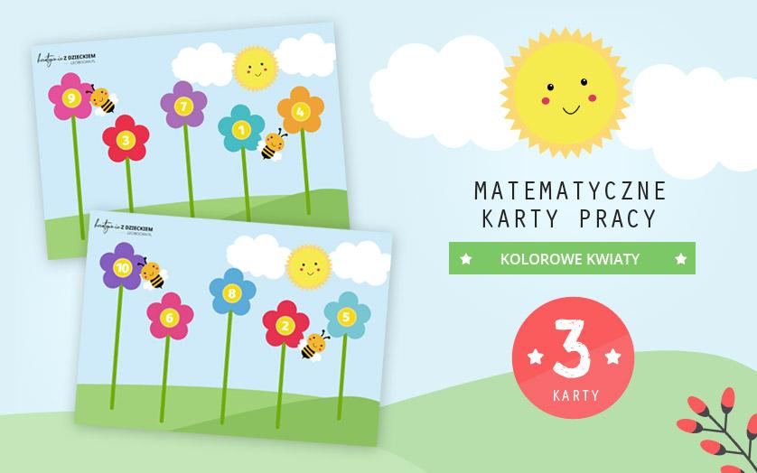 Matematyczne karty pracy - Kolorowe kwiaty