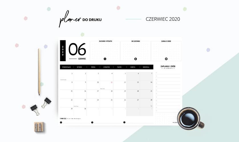 Planer czerwiec 2020 w kolorze czarnym