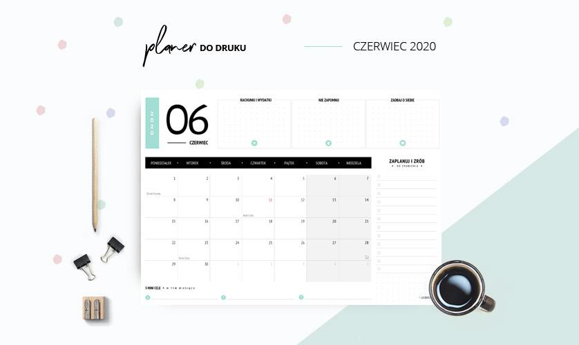 Planer czerwiec 2020 w kolorze miętowym