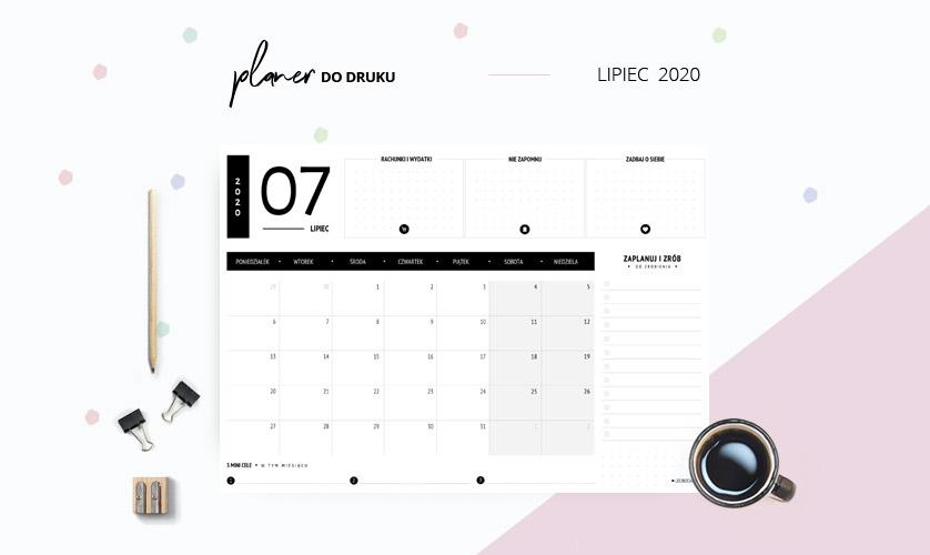 Planer lipiec 2020 w kolorze czarnym