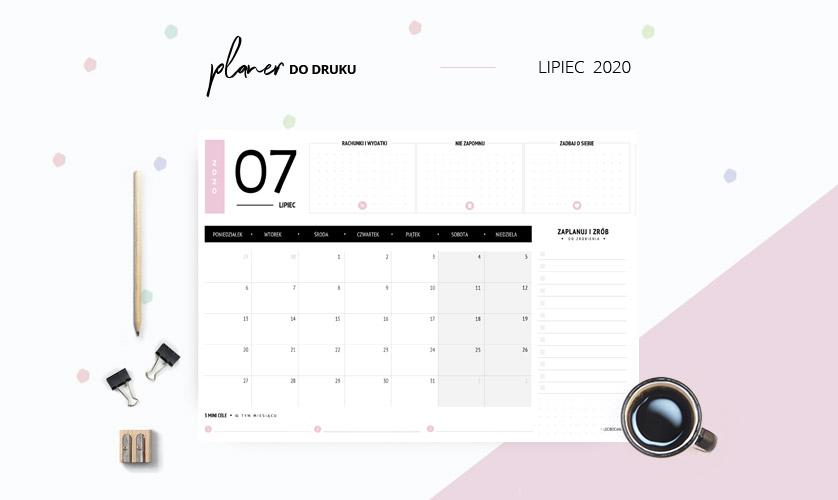 Planer lipiec 2020 w kolorze różowym
