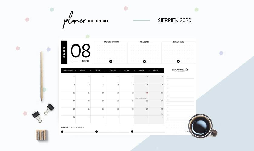 Planer sierpień 2020 w kolorze czarnym