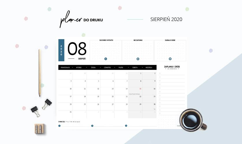 Planer sierpień 2020 w kolorze niebieskim