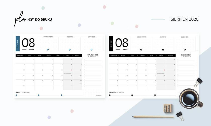 Planer sierpień 2020 - do druku za darmo