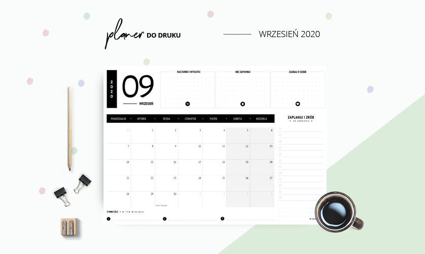 Planer wrzesień 2020 w kolorze czarnym