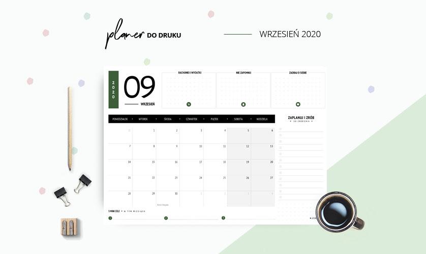 Planer wrzesień 2020 w kolorze zielonym