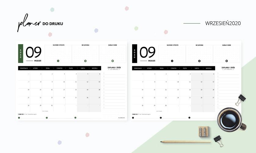 Planer wrzesień 2020 - do druku za darmo
