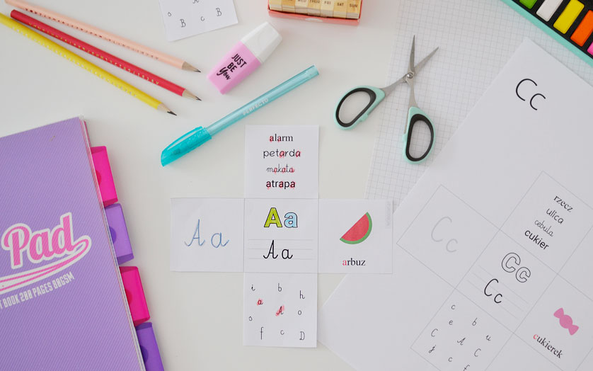 Wklejki z literami - do druku