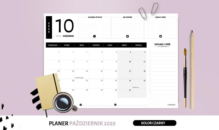 Planer październik 2020 w kolorze czarnym