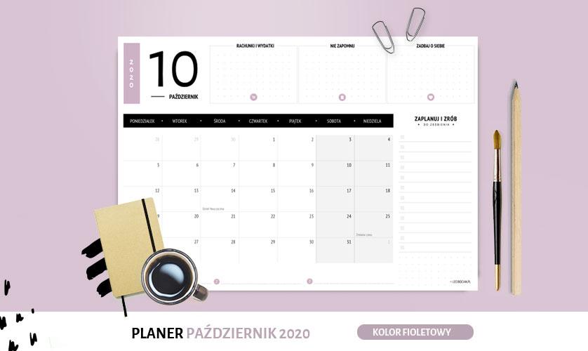 Planer październik 2020 w kolorze fioletowy