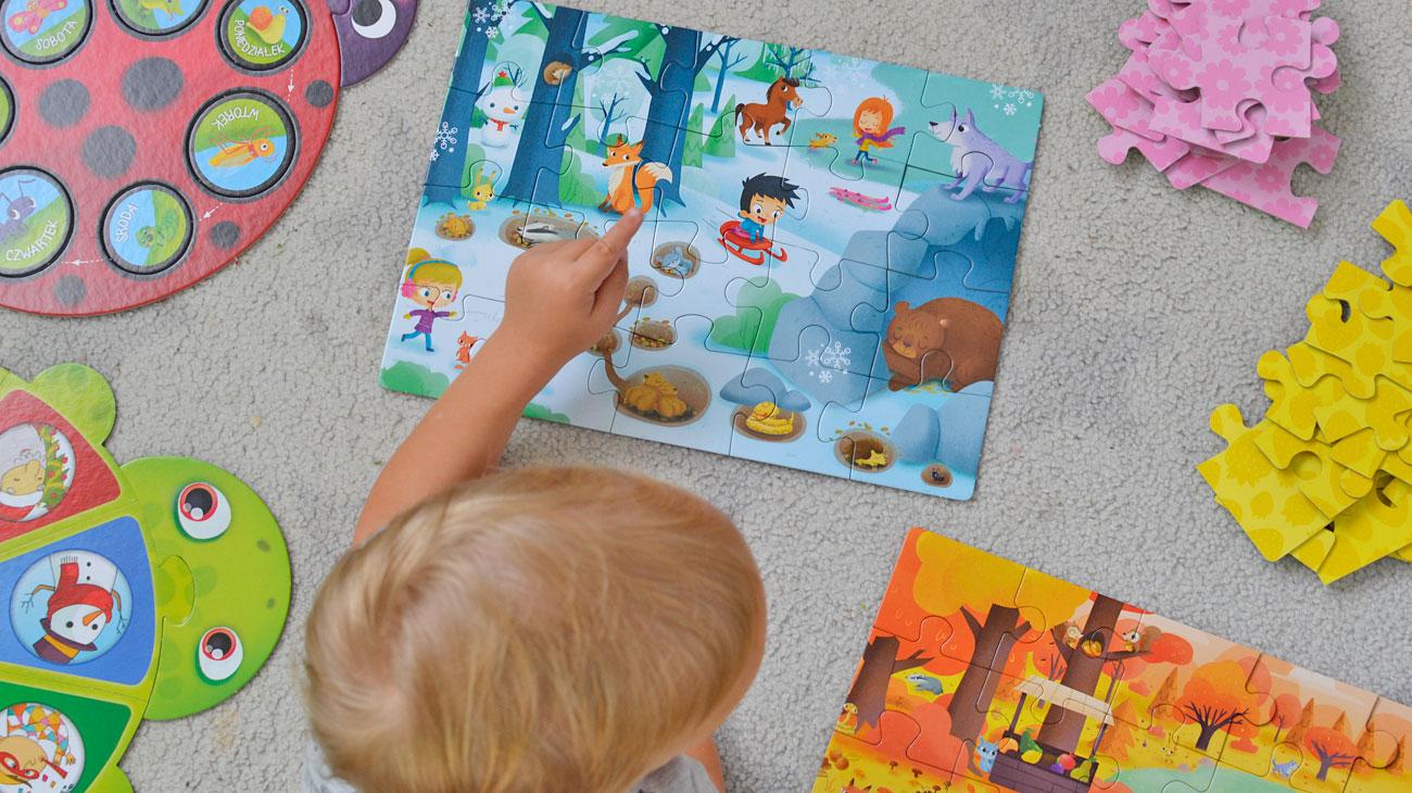 Pory roku i czas - kolorowe puzzle i układanki dla dziecka