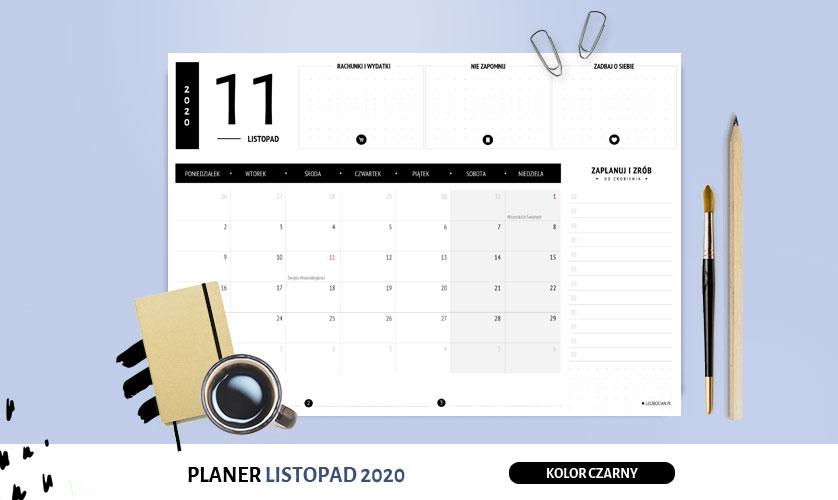 Planer listopad 2020 w kolorze czarnym
