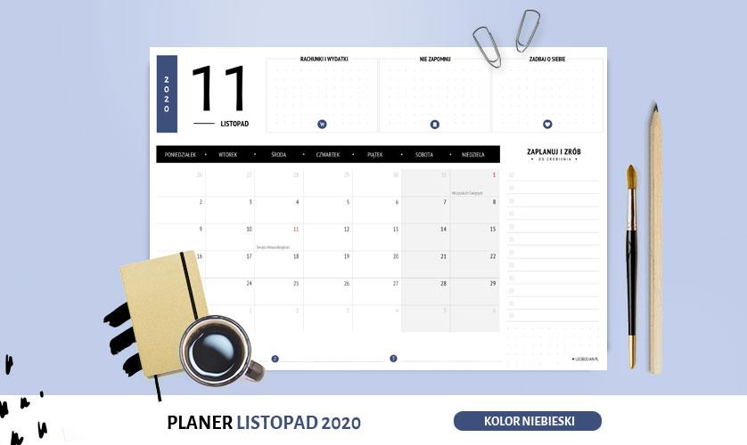 Planer listopad 2020 w kolorze niebieskim
