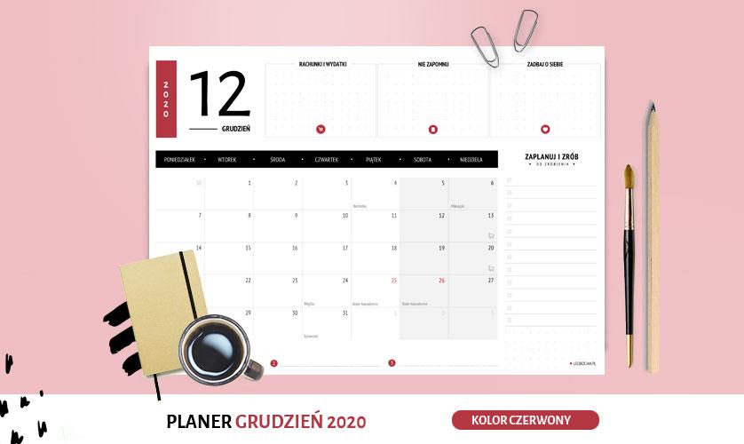 Planer grudzień 2020 w kolorze czerwonym