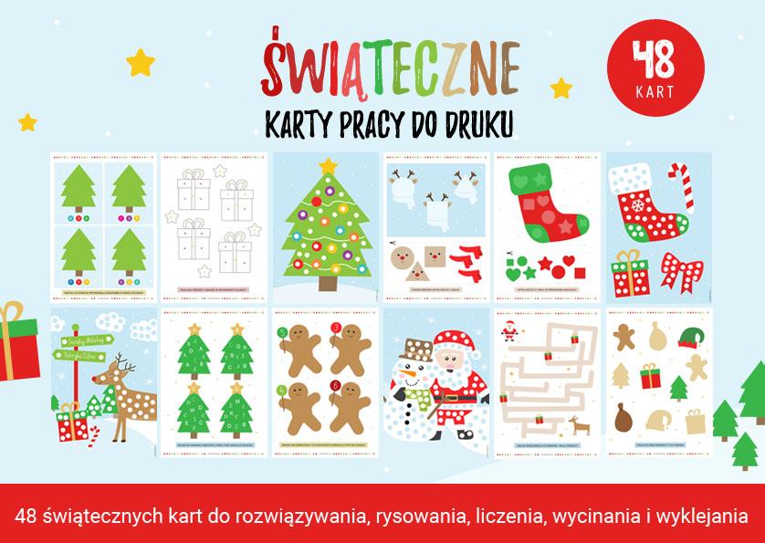 Świąteczne karty pracy - 48 świątecznych zadań do druku