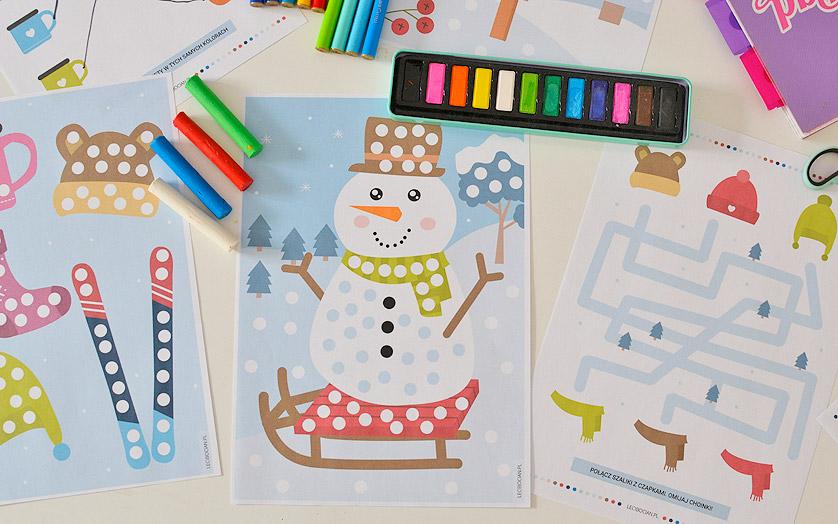 Zimowe karty pracy do druku