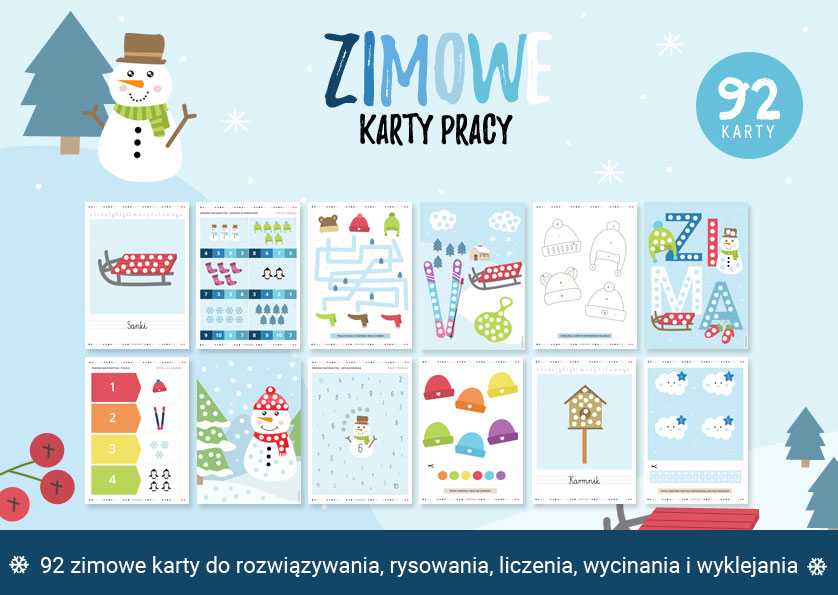 Zimowe karty pracy - 92 zimowych zadań do druku