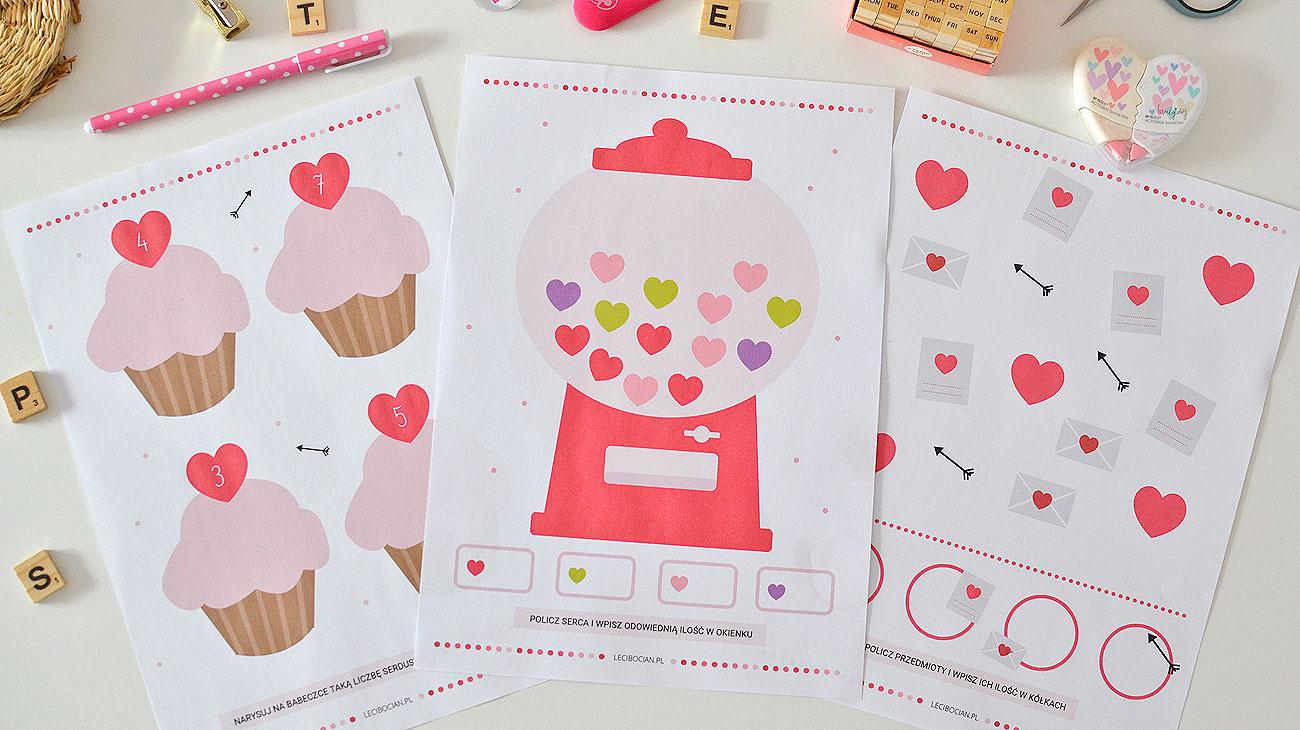 Karty pracy Walentynki - 26 walentynkowe karty do druku