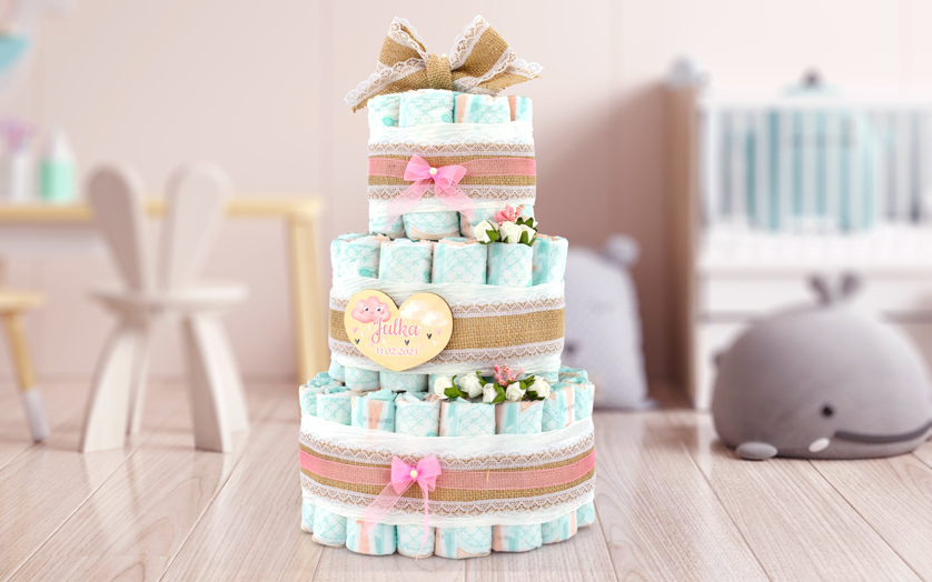 Tort z pampersów z nadrukiem dla dziewczynki - Rustykalny
