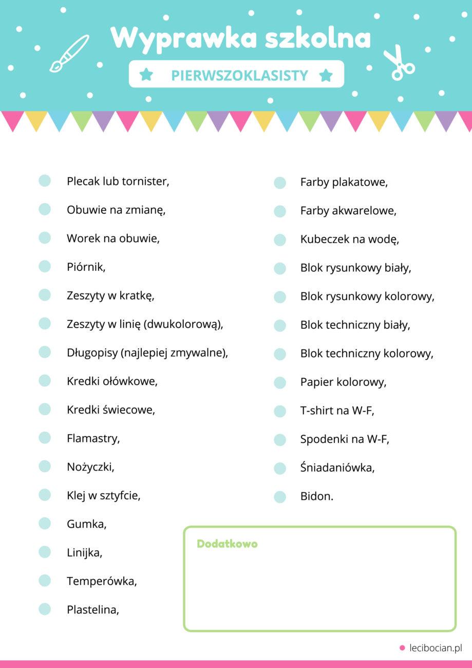 Wyprawka do pierwszej klasy - lista do druku